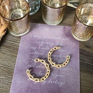 Jewelry - Faux Gold chain C hoop earrings